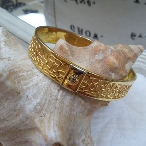 SOLID Gold TONE LOGO Bangle By COACH
